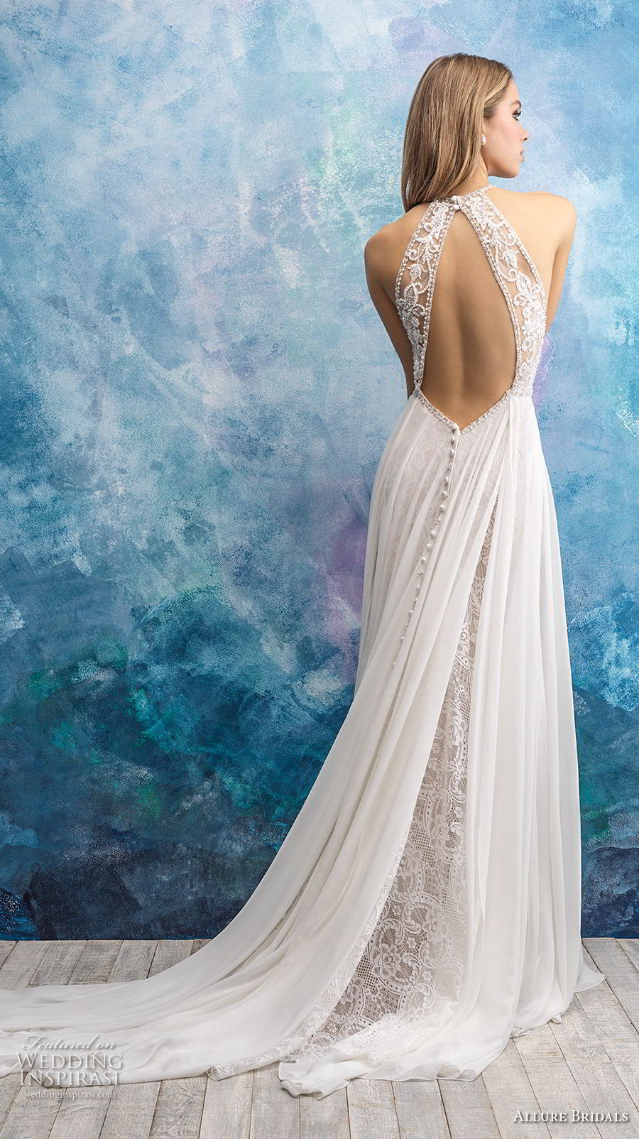 allure bridals fall 2018 bridal sleeveless halter neck heavily embellished bodice romantic soft a line wedding dress keyhole back chapel train (17) bv