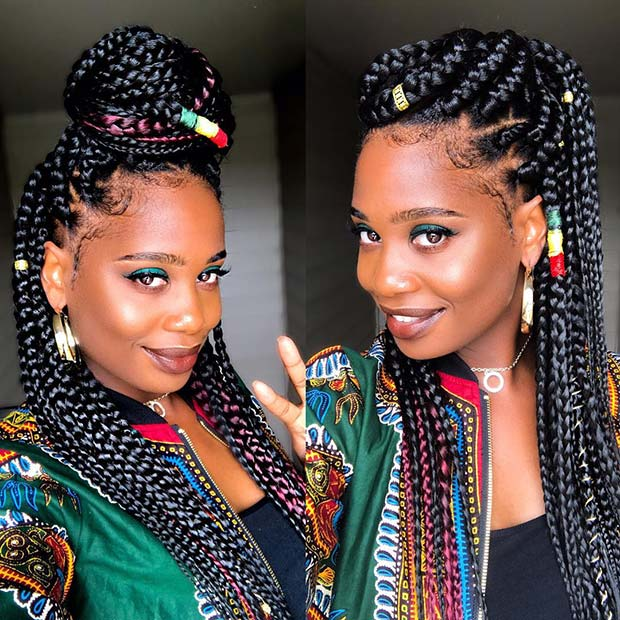 Jumbo Box Braids with Color