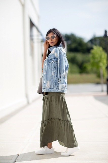 With olive green maxi skirt and white sneakers