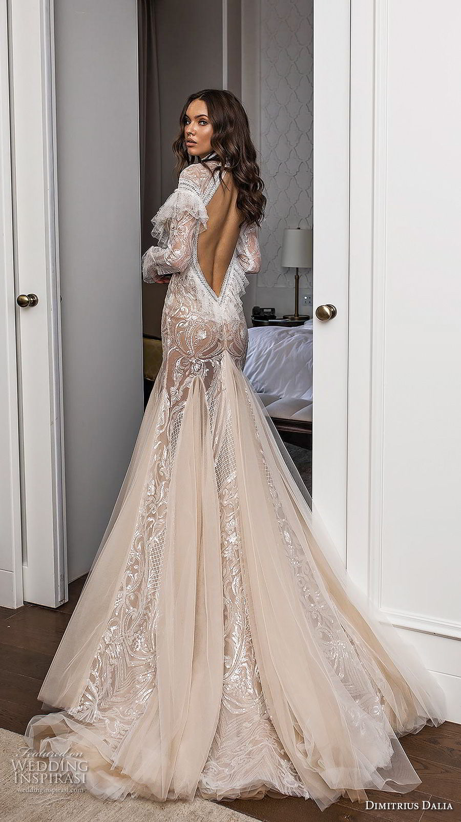 dimitrius dalia 2018 royal long sleeves high neck full embellishment slit skirt bohemian sexy fit and flare wedding dress low open back chapel train (10) bv