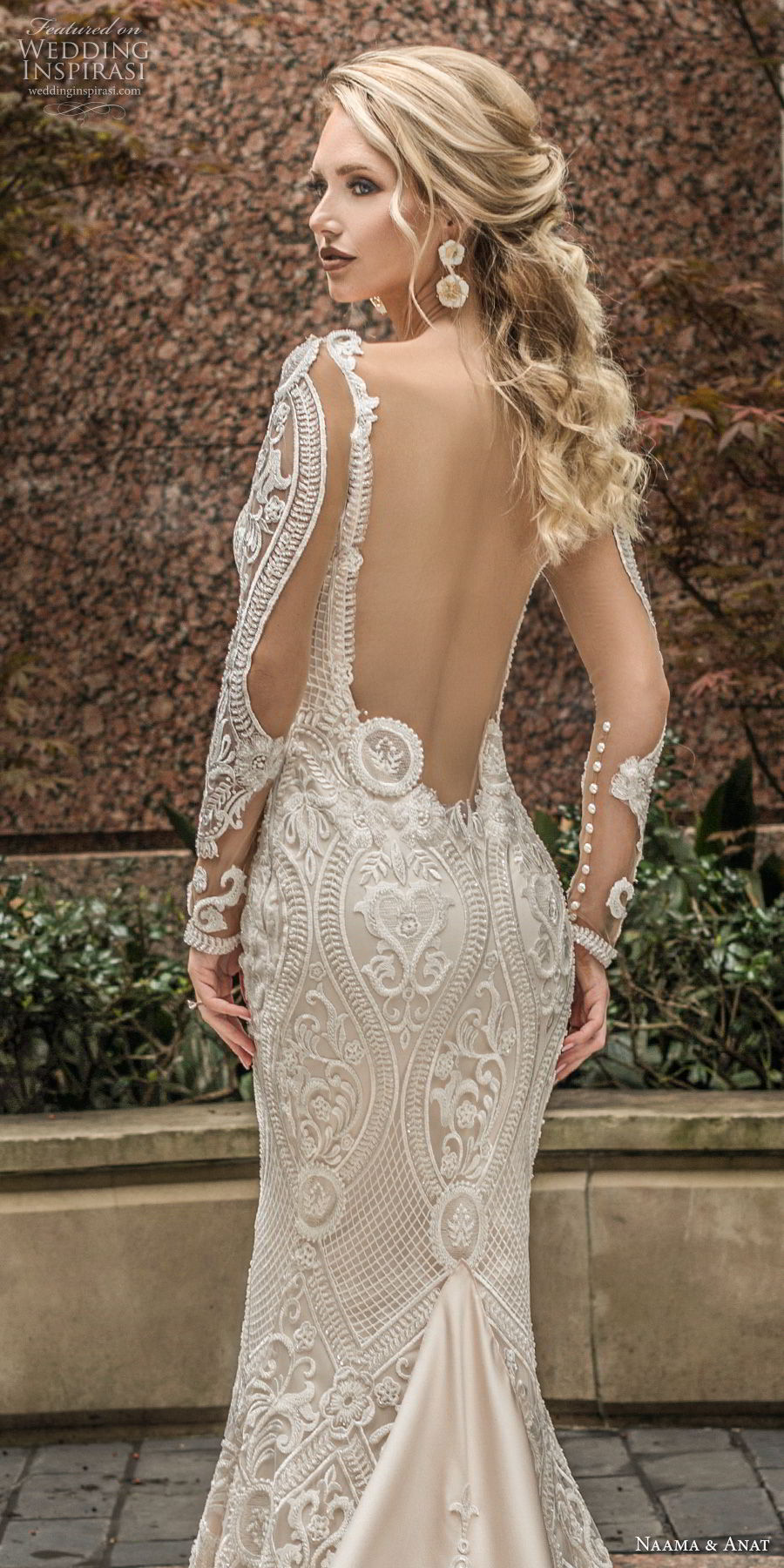 naama anat spring 2019 bridal long sleeves sweetheart neckline full embellishment elegant fit and flare wedding dress low open back chapel train (7) zbv