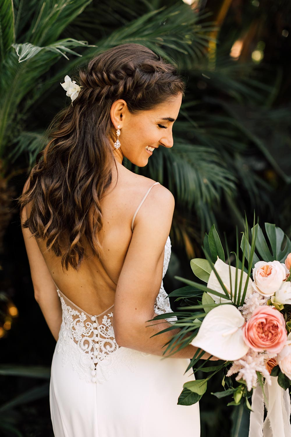 embroidered wedding dress with plunging back