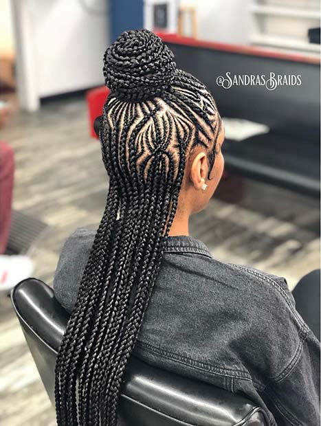 Braided Half Up Bun Look