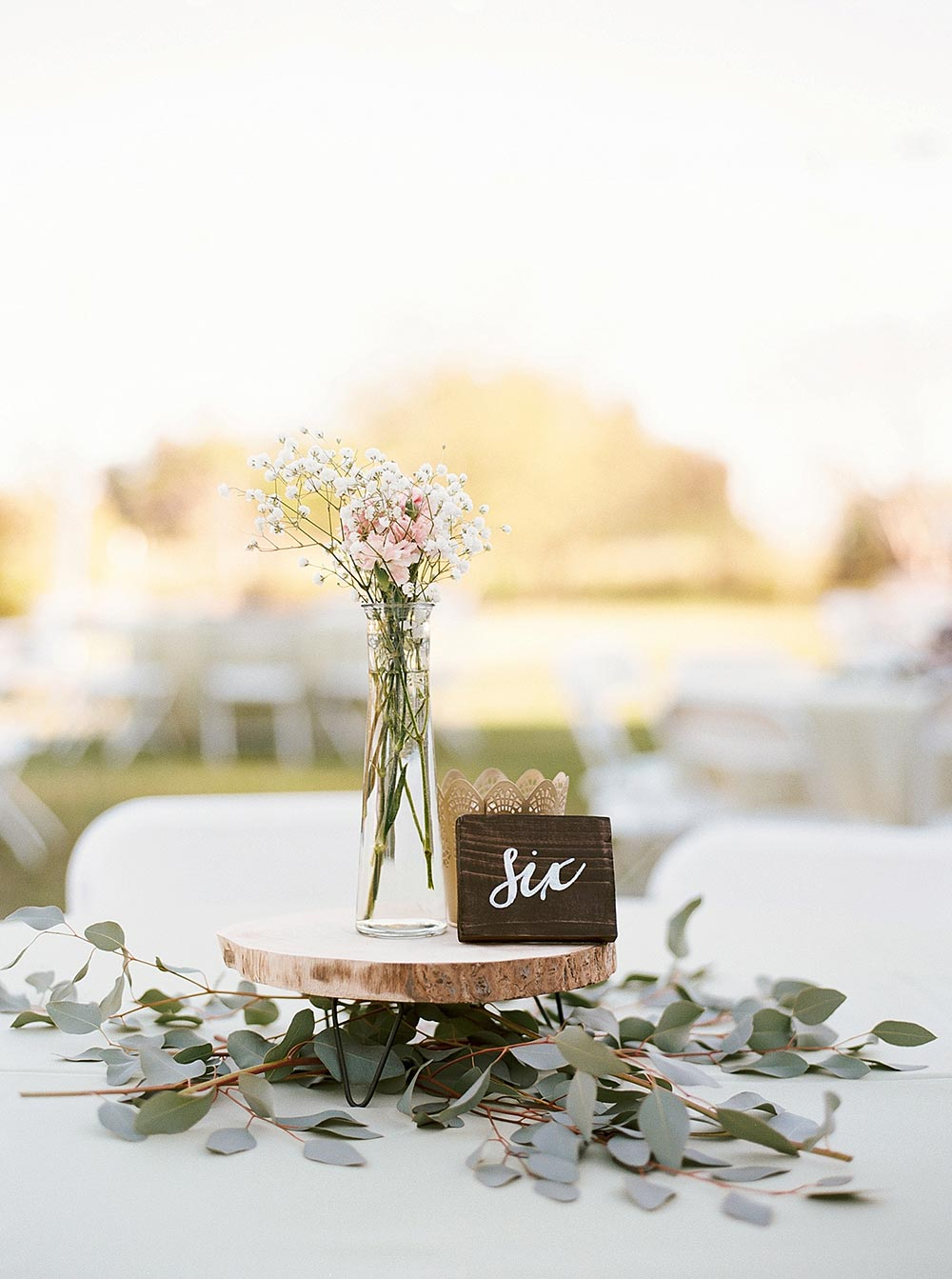 wedding wooden table numbers and bud vase centerpiece