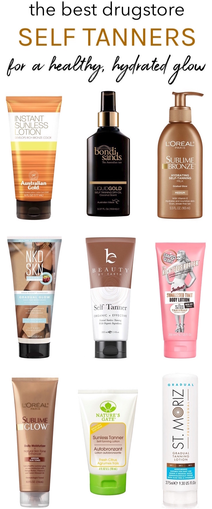 Kick pale, pasty skin to the curb without baking in the sun or hitting up tanning beds with these best drugstore self tanning lotions. With these hydrating self-tanners, you'll never have to worry about streaks, funky odors or blotchiness!