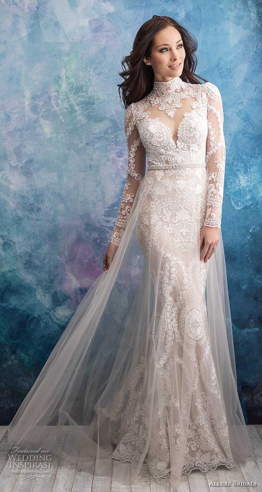 allure bridals fall 2018 bridal long sleeves illusion high neck sweetheart neckline full embellishment elegant fit and flare wedding dress a line overskirt lace back sweep train (4) mv