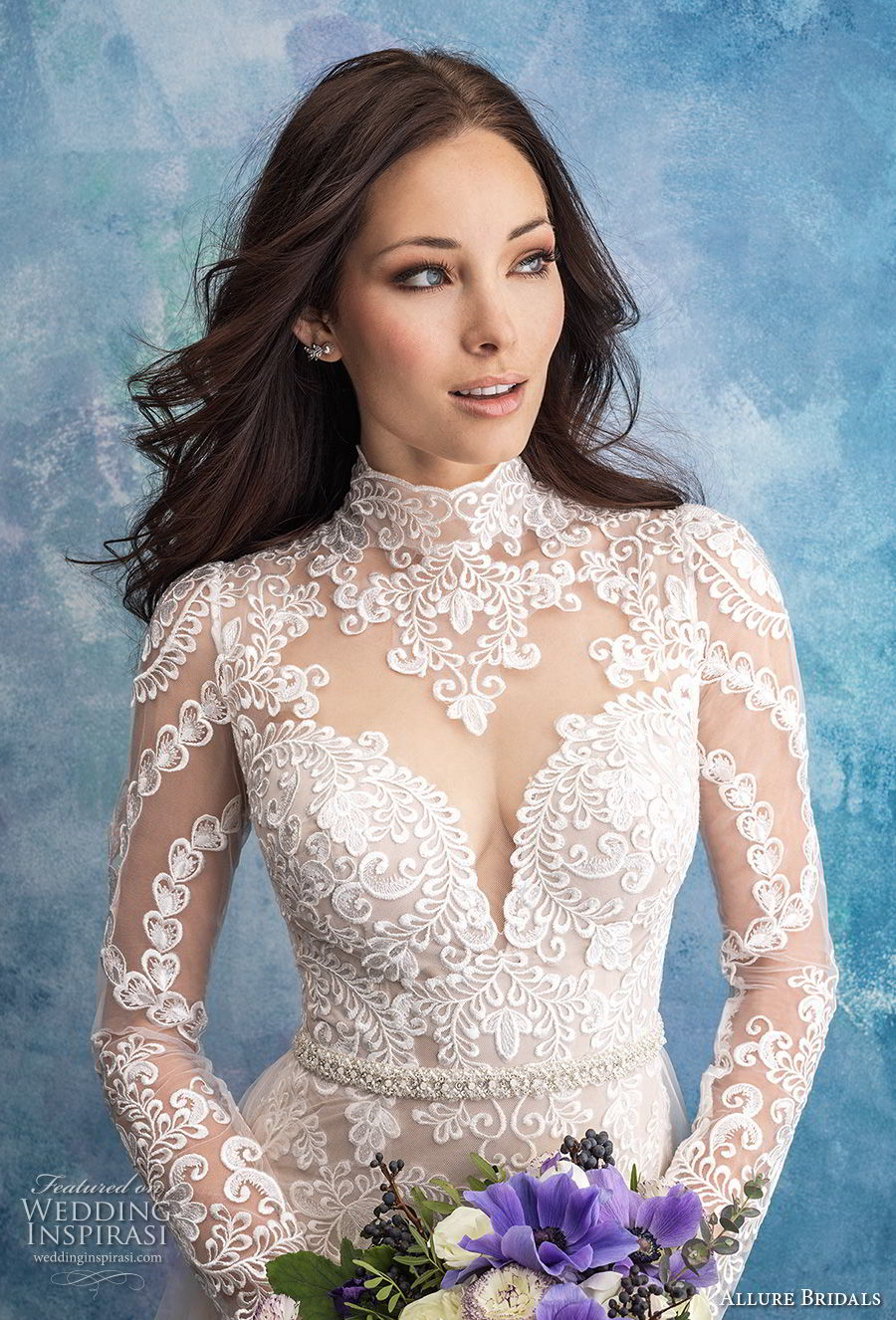 allure bridals fall 2018 bridal long sleeves illusion high neck sweetheart neckline full embellishment elegant fit and flare wedding dress a line overskirt lace back sweep train (4) zv