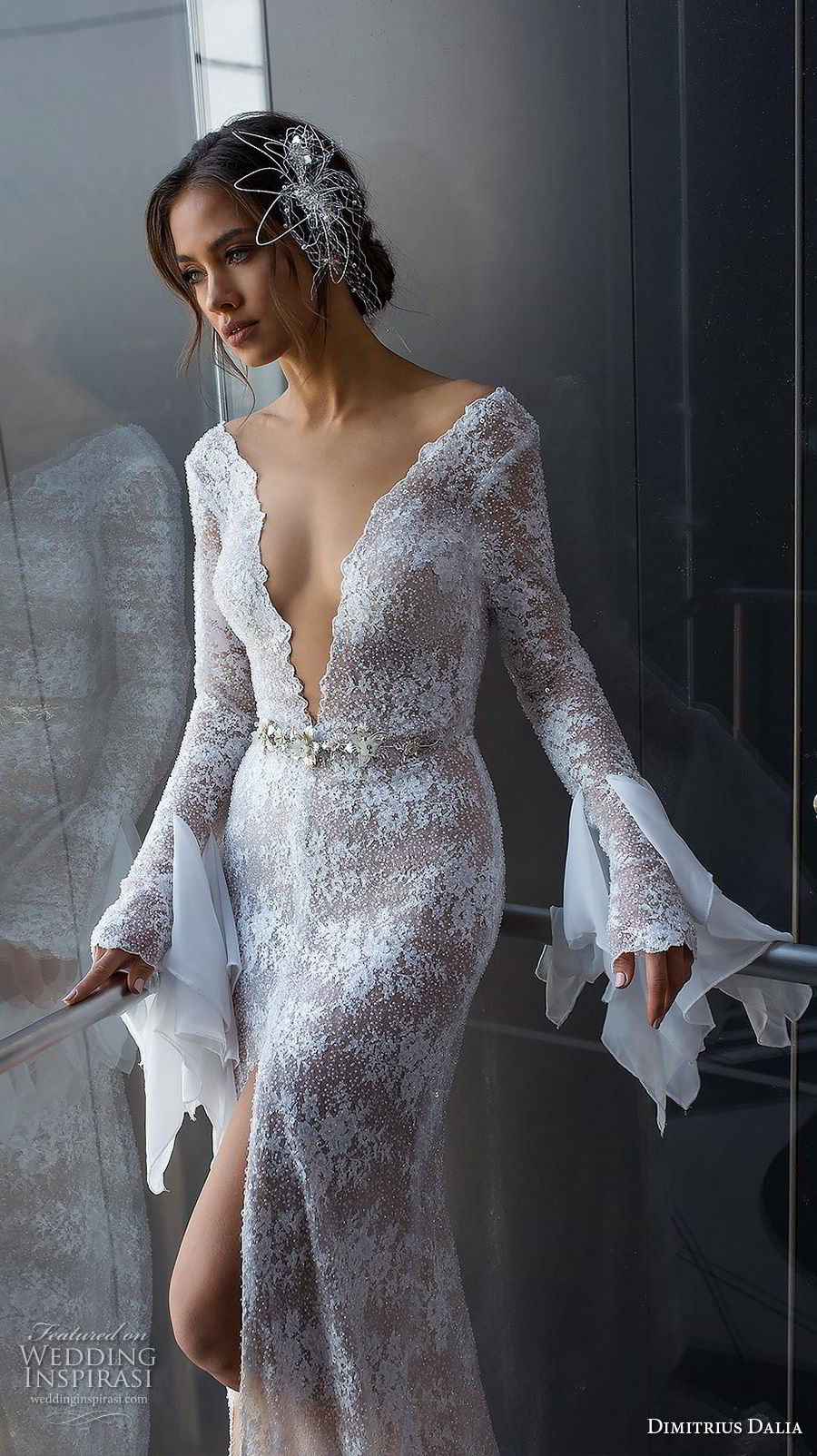 dimitrius dalia 2018 royal long bell sleeves deep v neck full embellishment slit skirt sexy elegant sheath wedding dress sweep train (5) zv mv