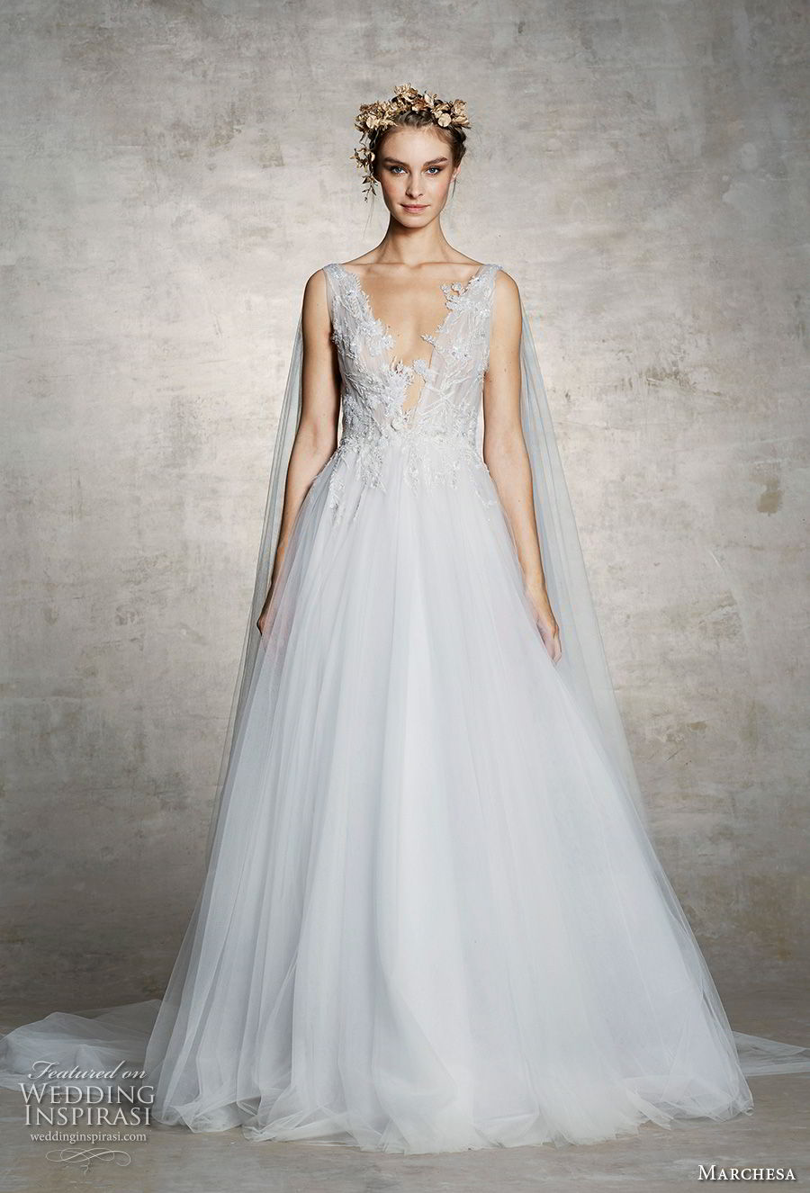 marchesa spring 2019 bridal sleeveless thick strap deep v neck heavily embellished bodice tulle skirt a line wedding dress chapel train (7) mv