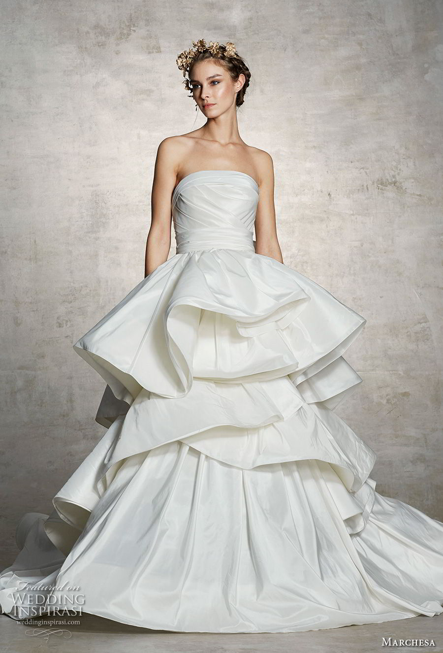 marchesa spring 2019 bridal strapless straight across neckline ruched bodice tiered skirt peplum princess a line wedding dress (8) mv