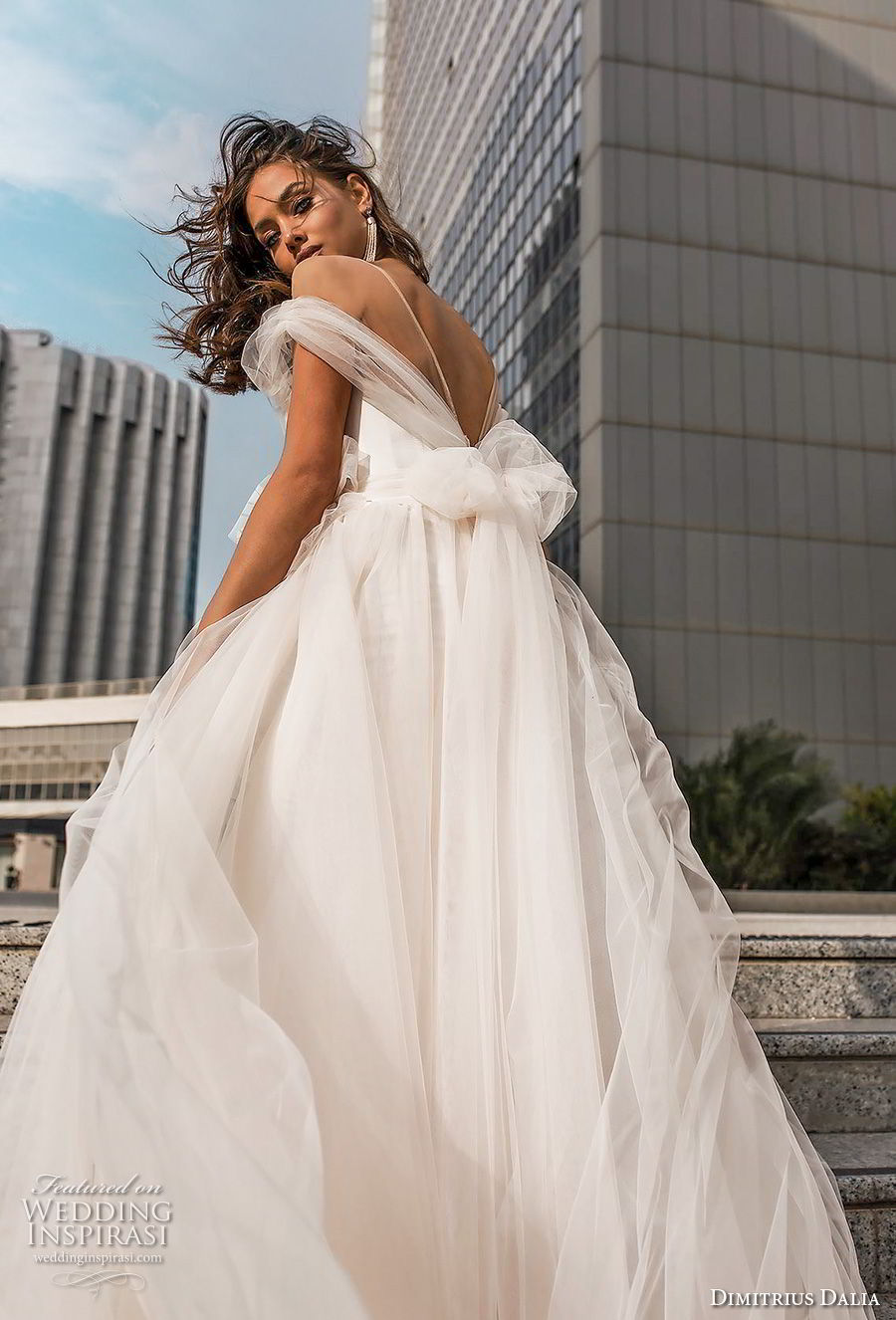 dimitrius dalia 2018 royal off the shoulder sweetheart neckline simple tulle skirt romantic soft a line wedding dress open v back (12) zbv