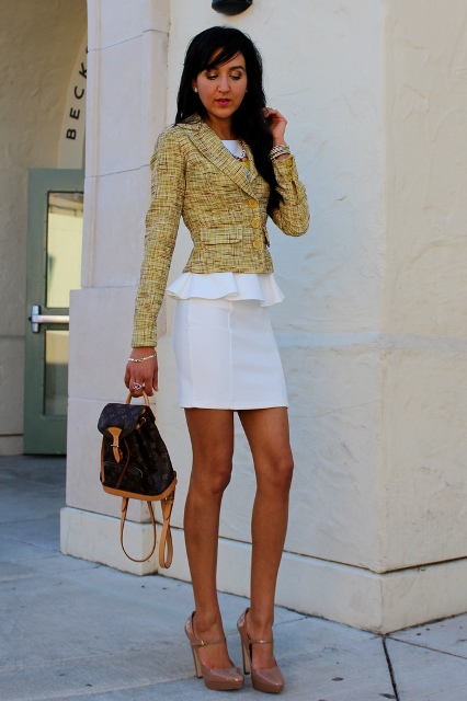 With blazer, white dress and beige shoes