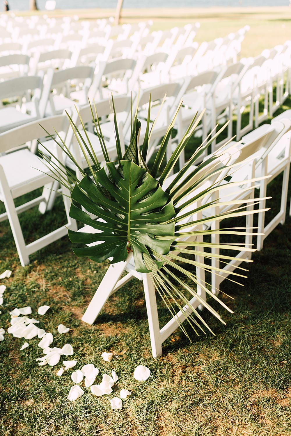 palm frond aisle marker wedding ceremony