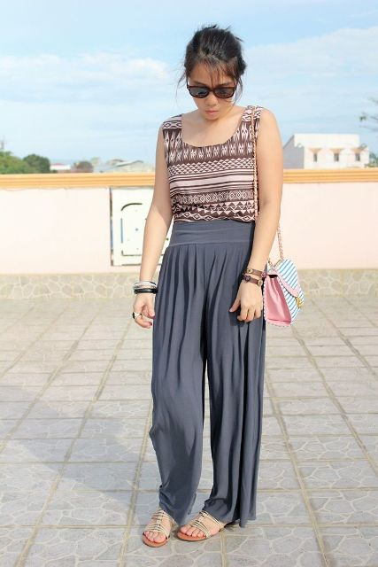 With printed top, flat sandals and printed bag