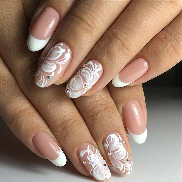 French Tip Flowers White Nail Art Design
