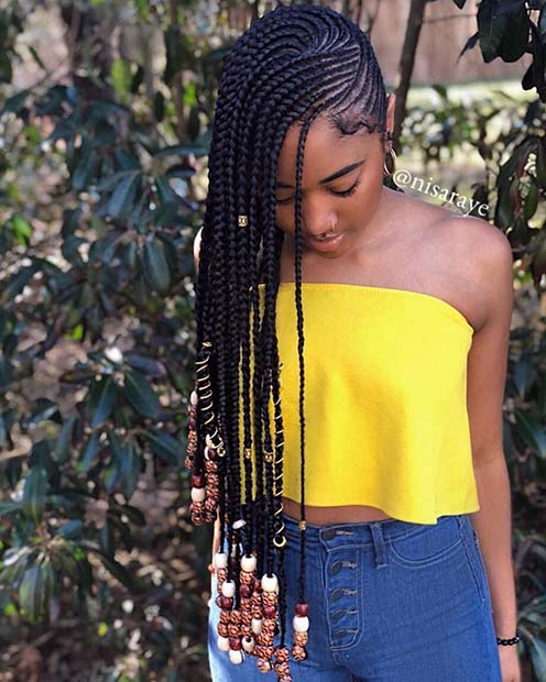Long Side Swept African Braids