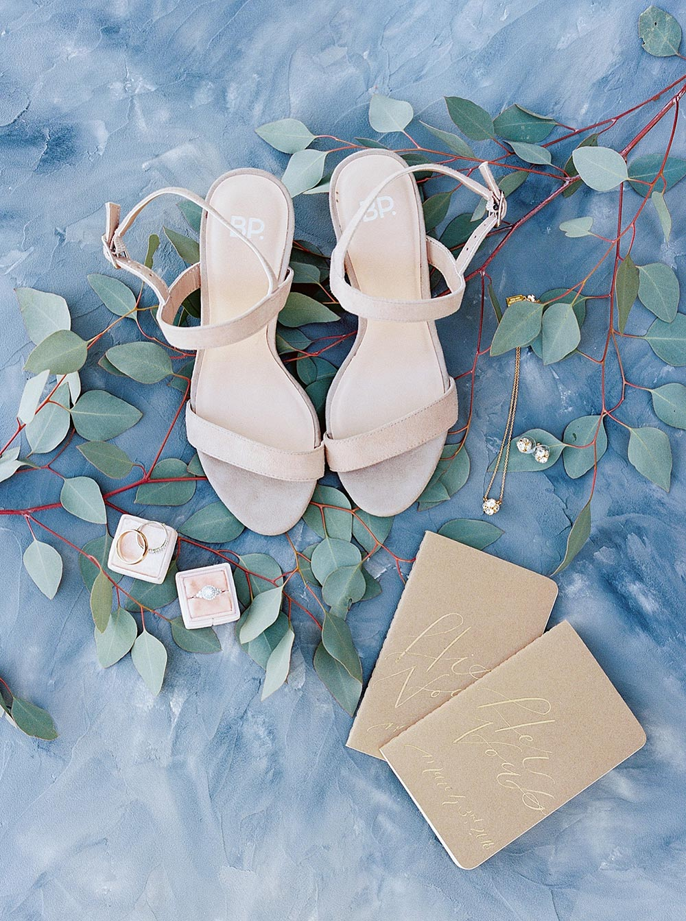 wedding heels and vow books