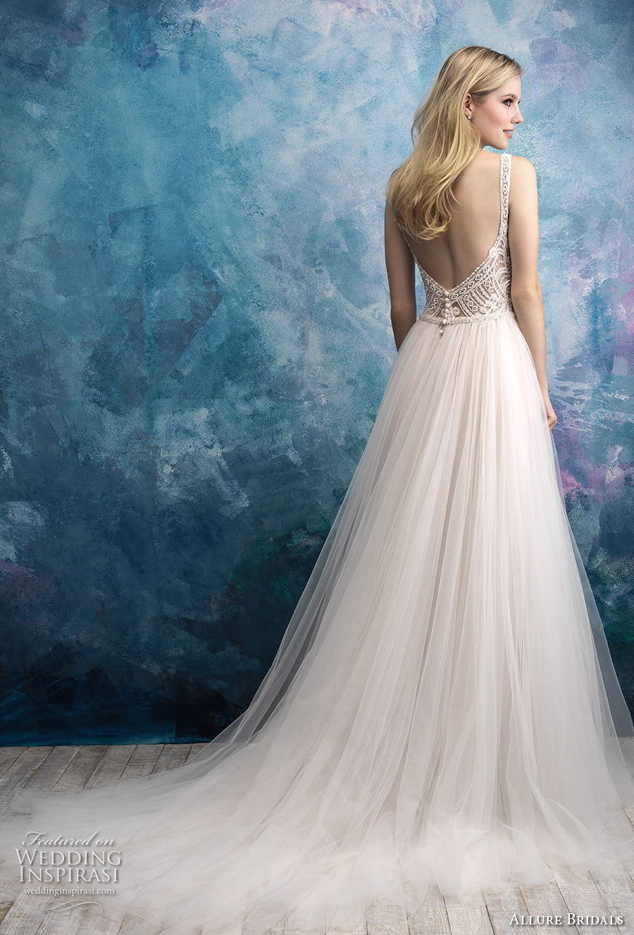 allure bridals fall 2018 bridal sleeveless v neck heavily embellished bodice tulle skirt romantic a line wedding dress open back chapel train (7) bv