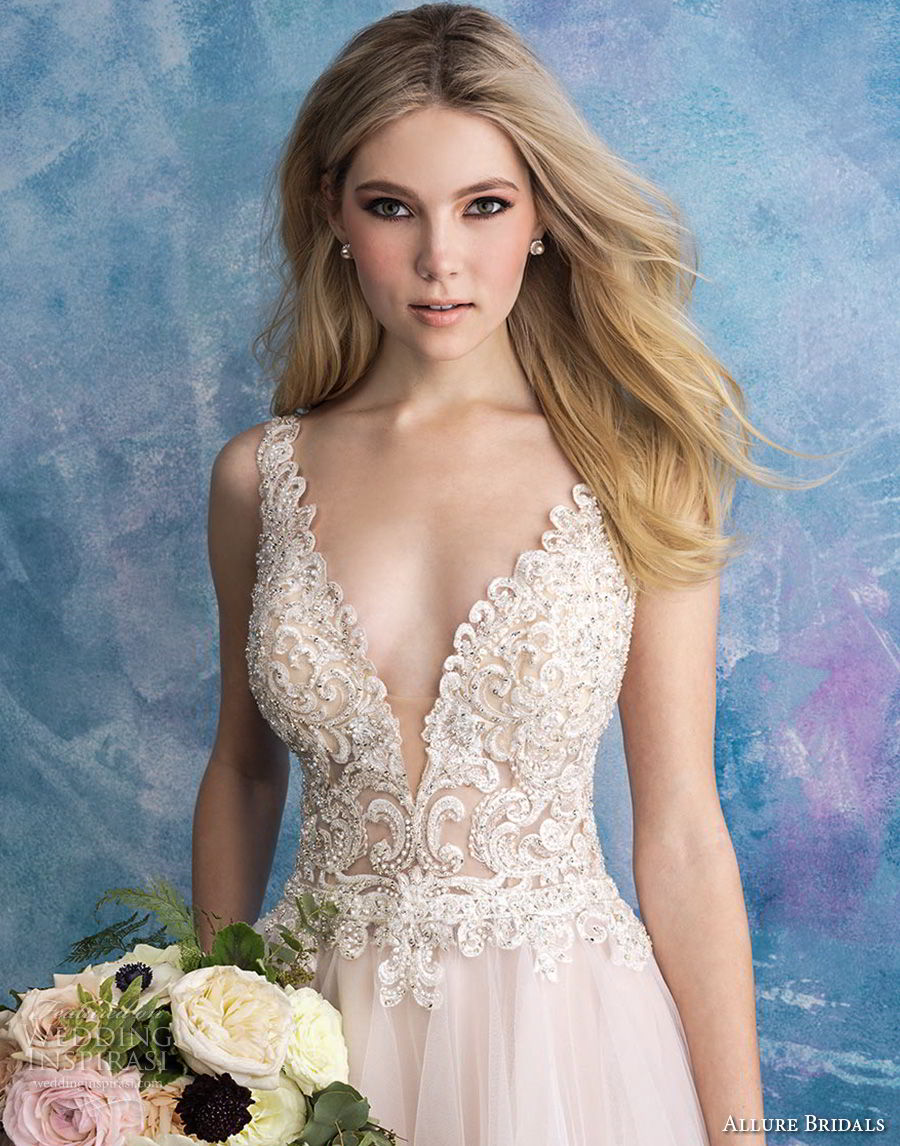 allure bridals fall 2018 bridal sleeveless deep v neck heavily embellished bodice tulle skirt romantic blush a line wedding dress open back chapel train (2) zv