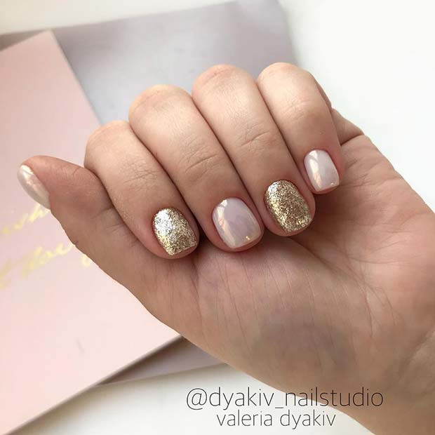 Elegant, Pearly Nails With Gold Glitter