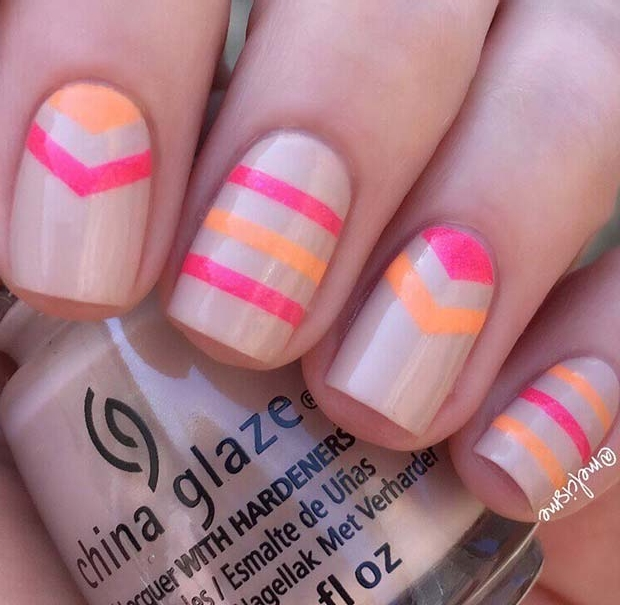 Colorful Summer Nails with Stripes