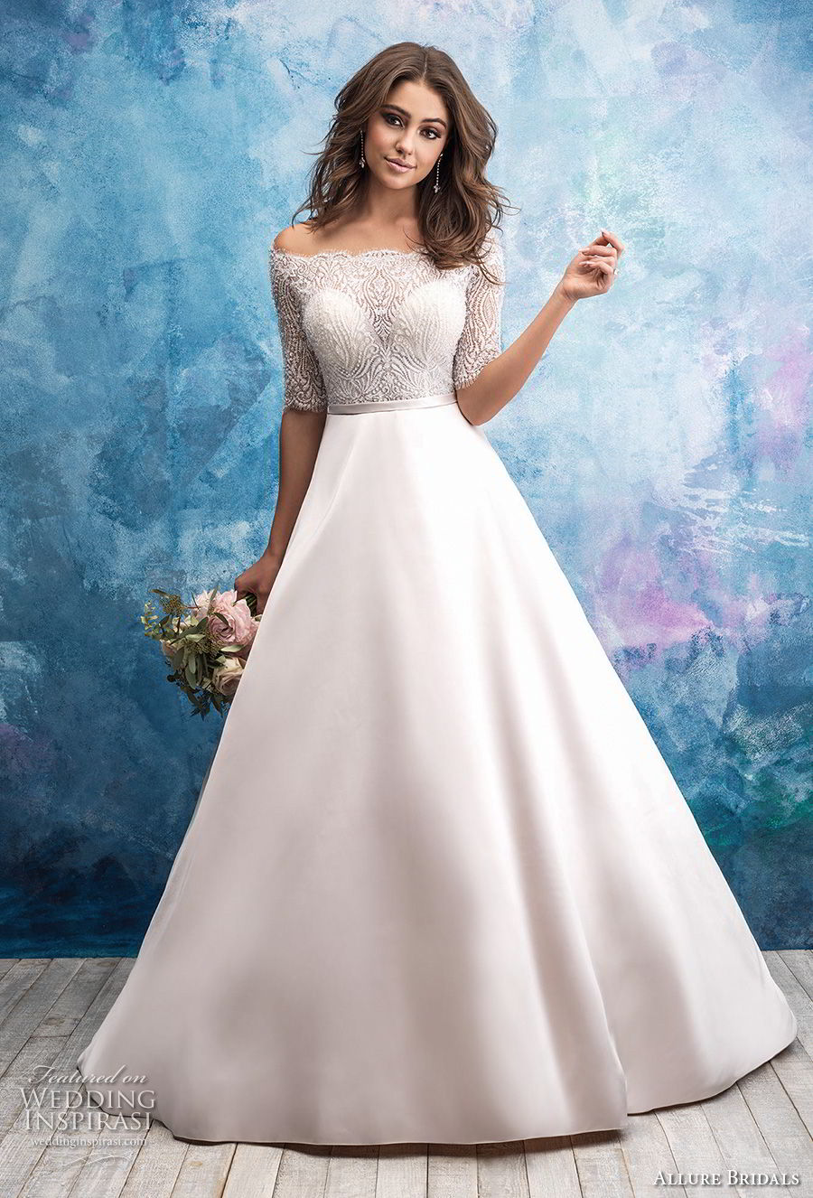allure bridals fall 2018 bridal off the shoulder half sleeves straight across neckline heavily embellished bodice satin skirt romantic a line wedding dress lace back chapel train (13) mv