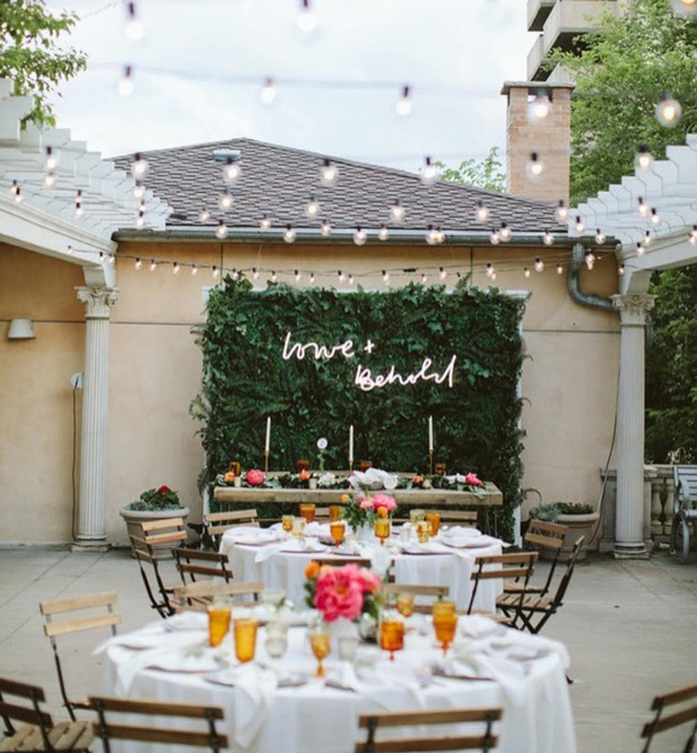 neon wedding signage outdoor reception