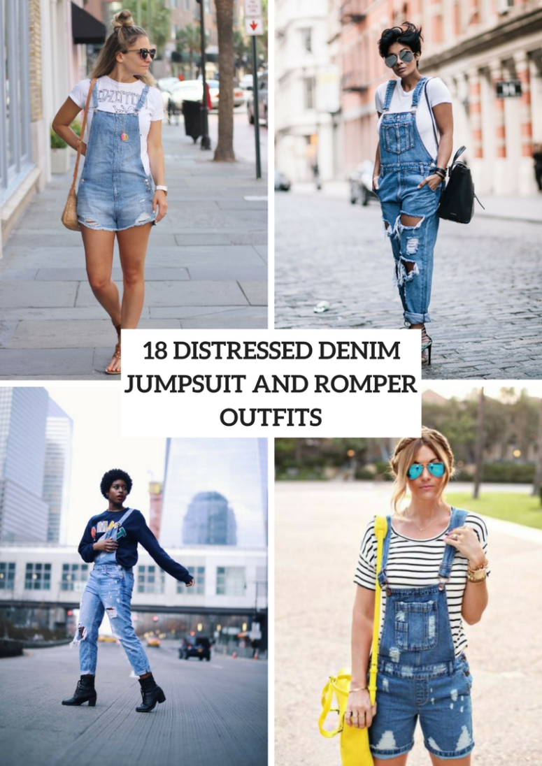 Distressed Denim Jumpsuit And Romper Outfit Ideas