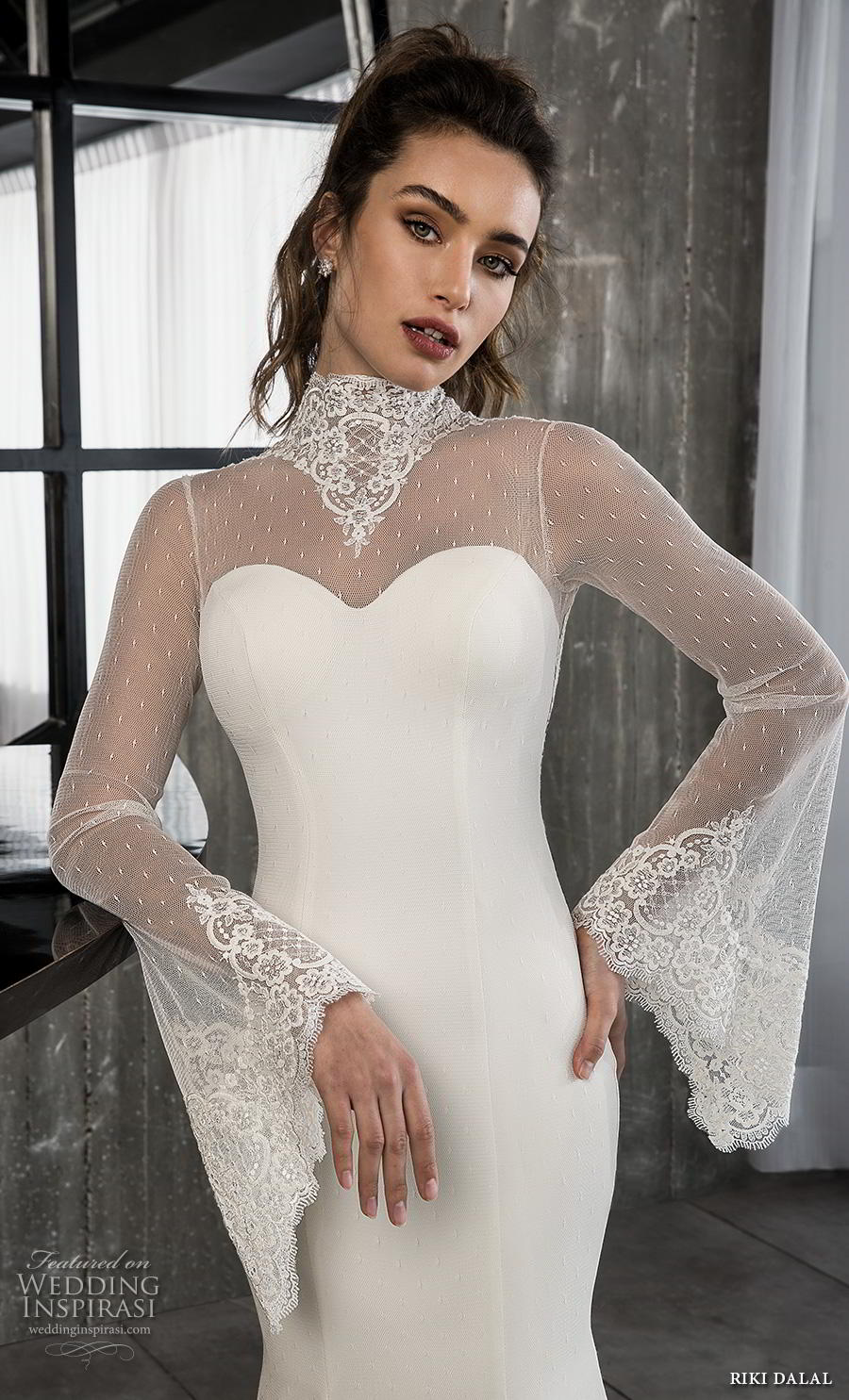 riki dalal 2018 glamour bridal long bell sleeves illusion high neck sweetheart neckline simple elegant fit and flare wedding dress keyhole back chapel train (11) zv