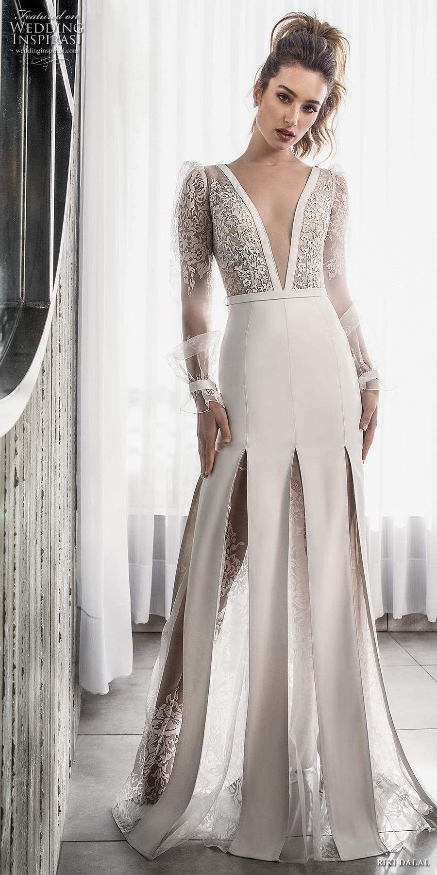 riki dalal 2018 glamour bridal long poet sleeves deep v neck heavily embellished bodice slit skirt elegant sexy modified a line wedding dress sheer back sweep train (1) mv