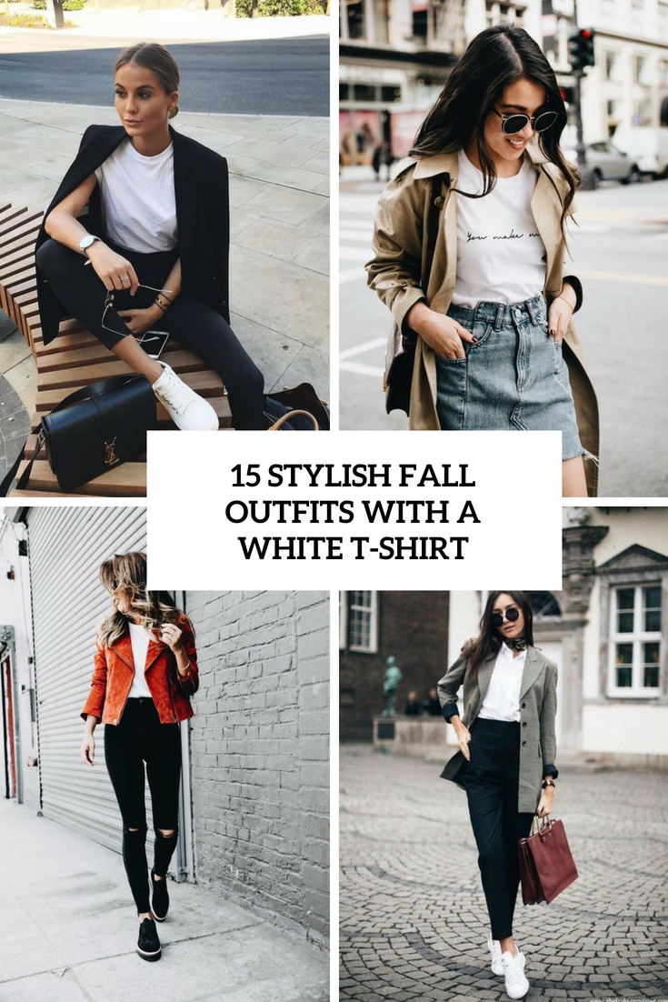 stylish fall outfits with a white tee cover