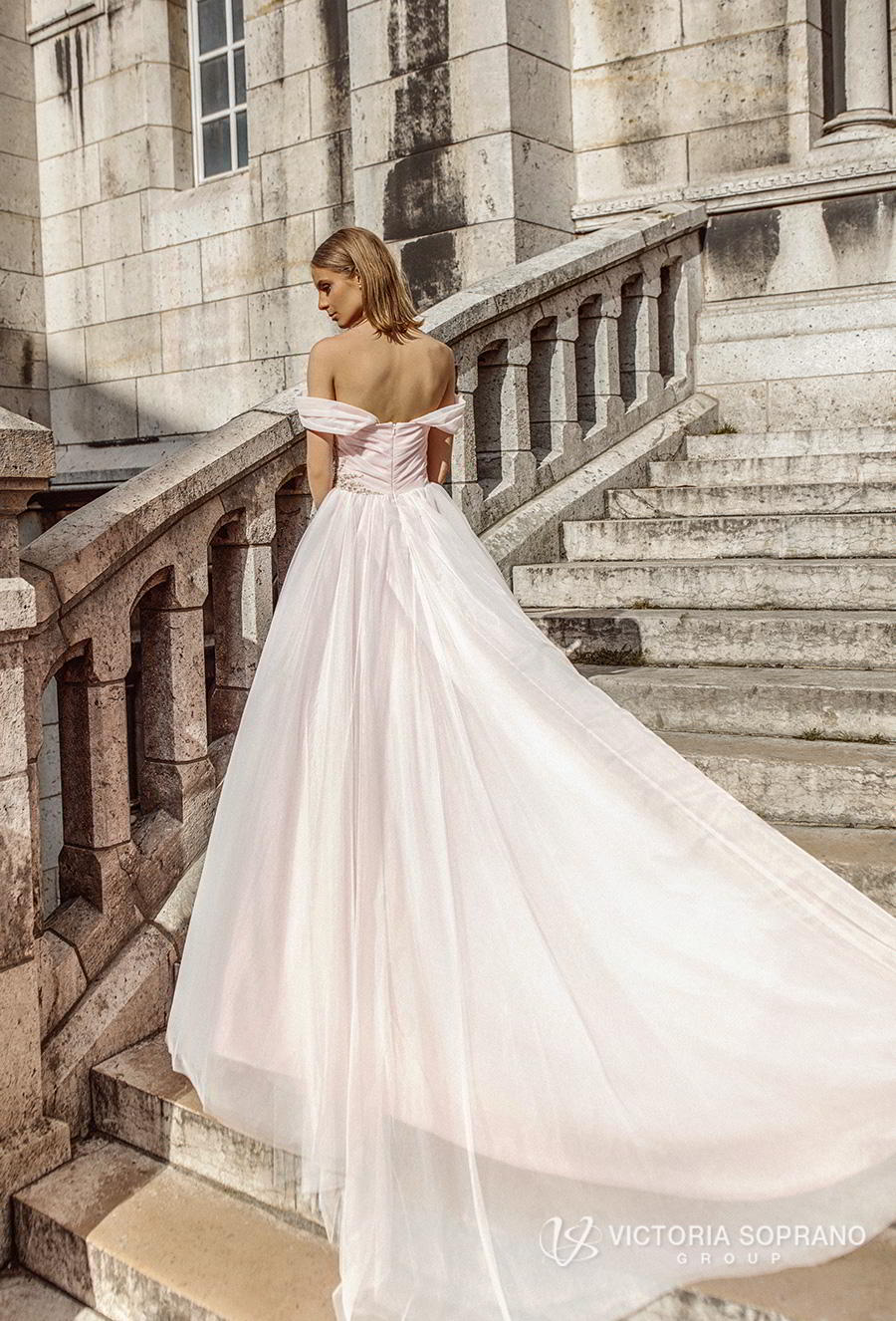 victoria soprano 2019 bridal off the shoulder sweetheart neckline ruched wrap over bodice romantic blush ball gown wedding dress chapel train (estel) bv