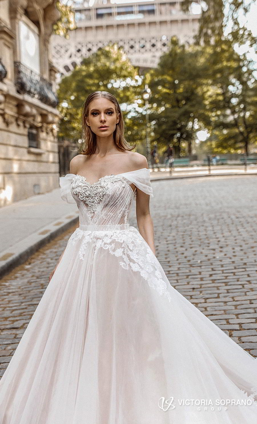 victoria soprano 2019 bridal off the shoulder sweetheart neckline heavily embellished bodice romantic princess a line ball gown weddding dress royal train (manolo) zv