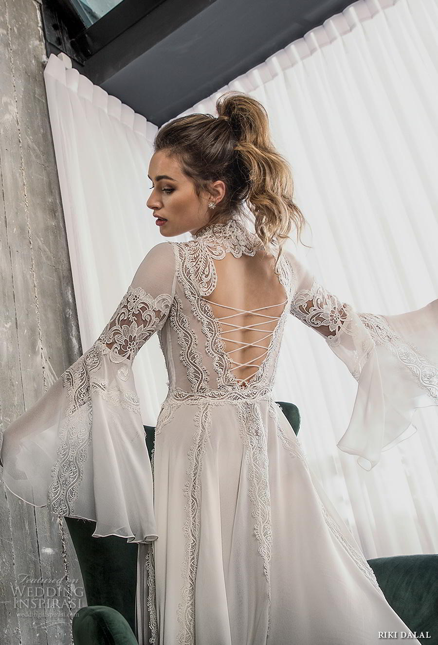 riki dalal 2018 glamour bridal long bell sleeves high neck heavily embellished bodice romantic bohemian a line wedding dress cross strap back sweep train (4) zbv