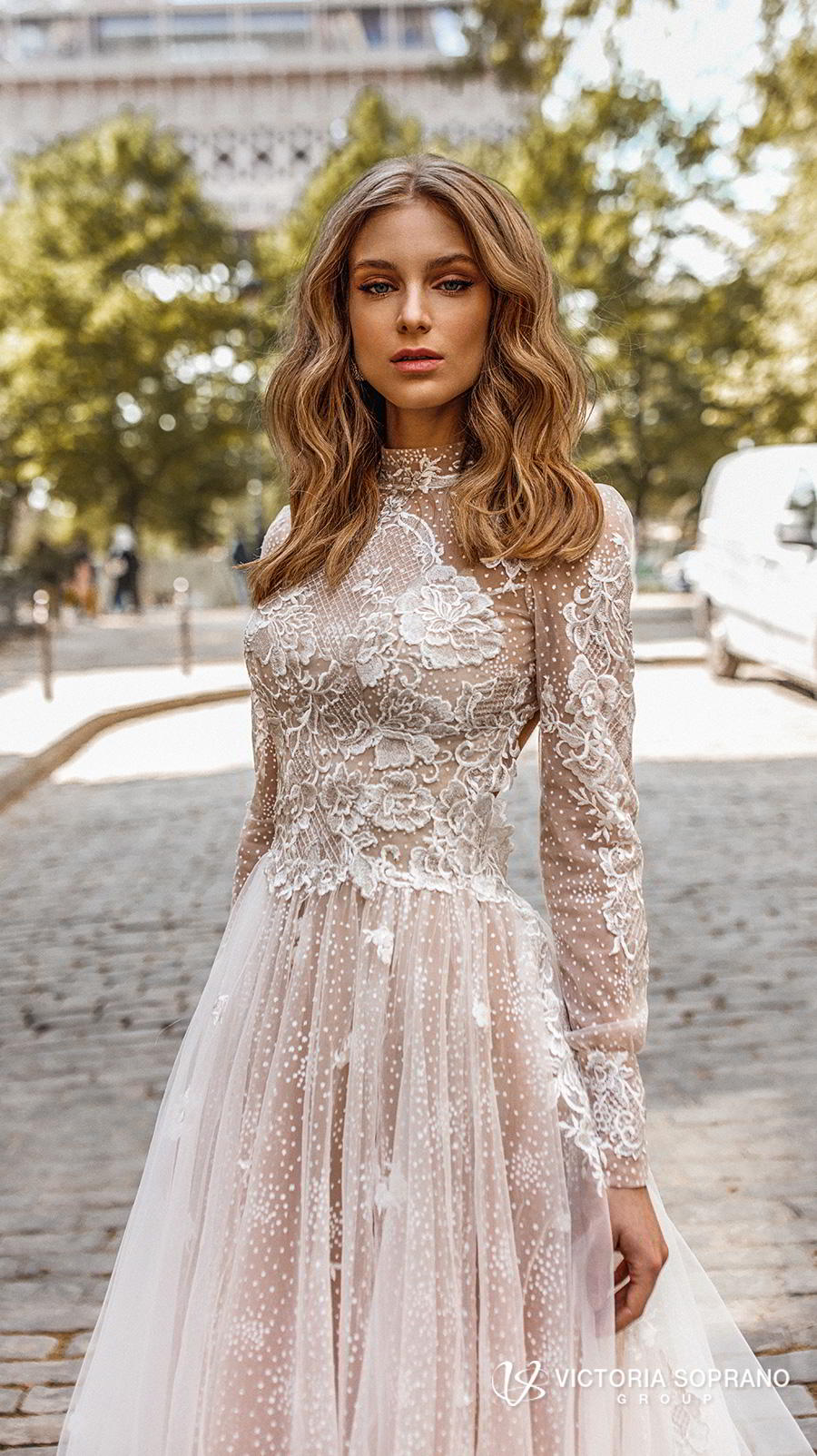 victoria soprano 2019 bridal long sleeves high neck heavily embellished bodice elegant princess a line wedding dress open low back chapel train (dior) zv