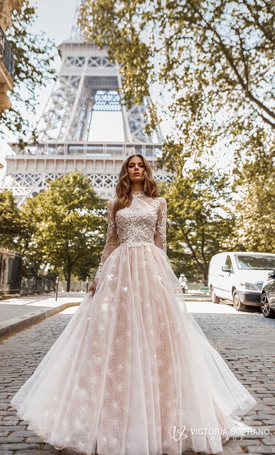 victoria soprano 2019 bridal long sleeves high neck heavily embellished bodice elegant princess a line wedding dress open low back chapel train (dior) mv