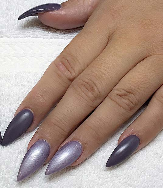 Simple Pointy Nail Design for Fall and Winter
