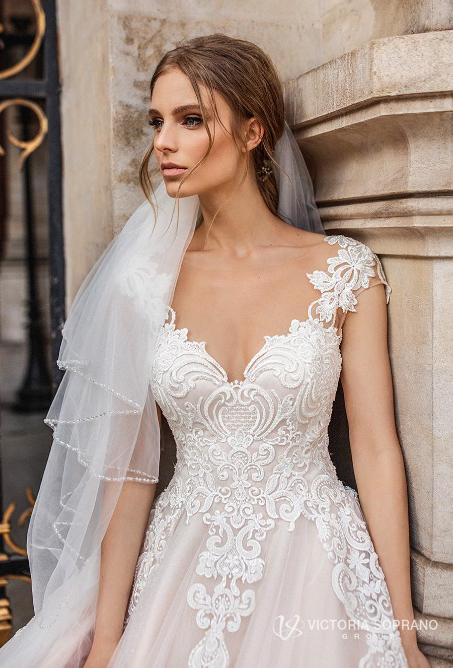 victoria soprano 2019 bridal cap sleeves v neck heavily embellished bodice romantic princess a line wedding dress sheer button back chapel train (ivonna) zv