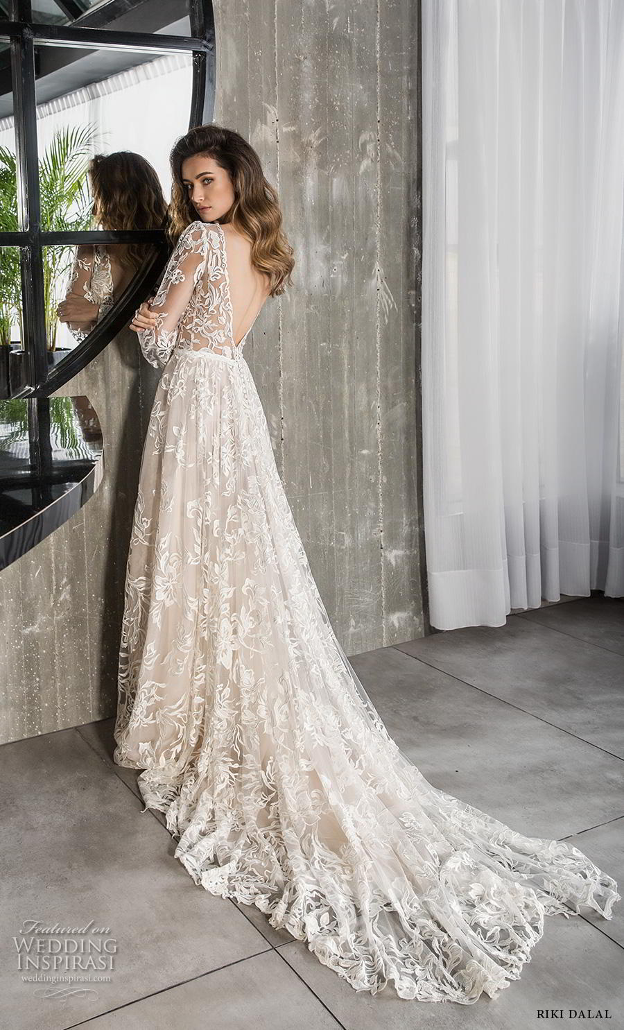 riki dalal 2018 glamour bridal long bishop sleeves deep v neck full embellishment romantic bohemian a line wedding dress backless v back chapel train (10) bv