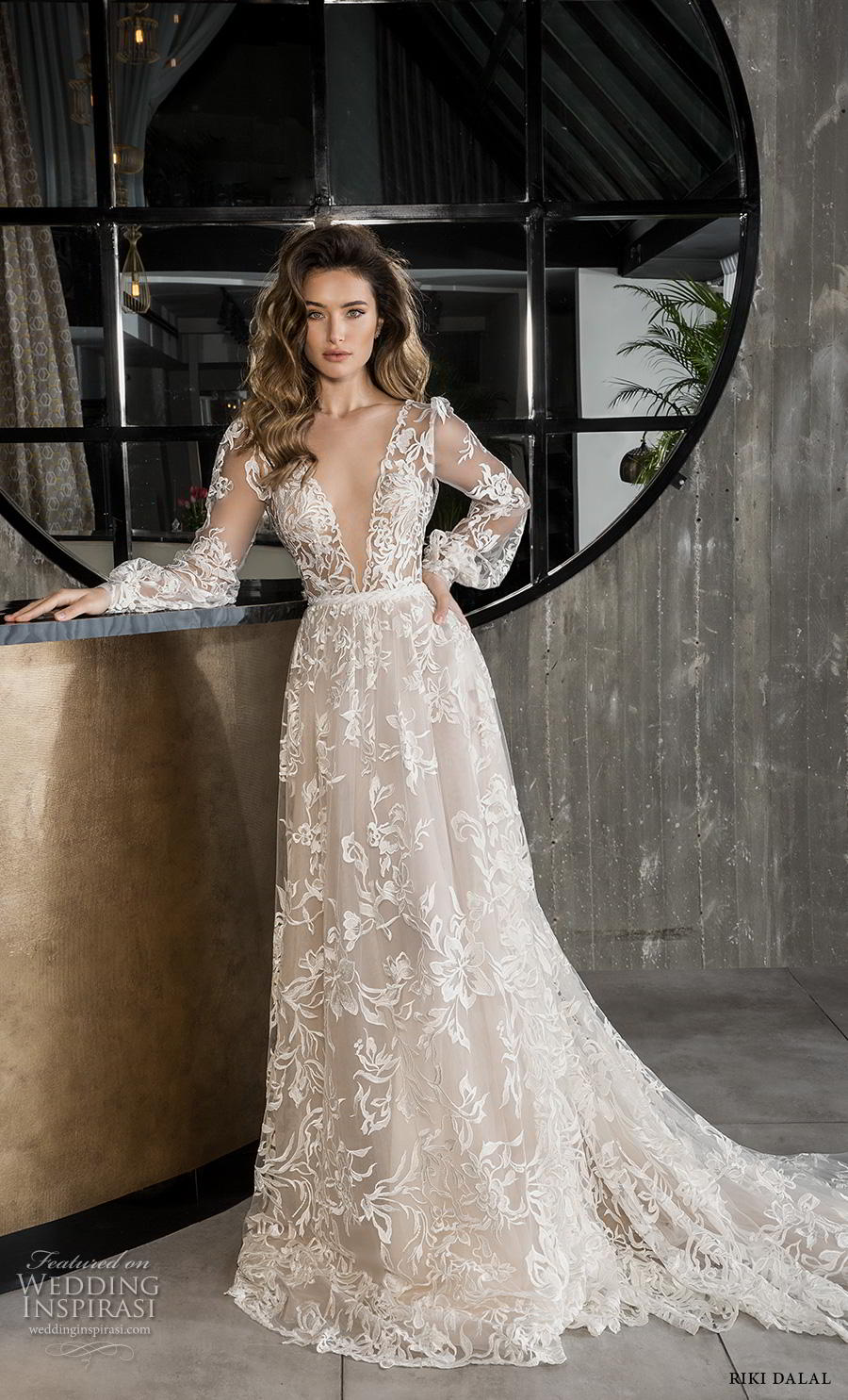 riki dalal 2018 glamour bridal long bishop sleeves deep v neck full embellishment romantic bohemian a line wedding dress backless v back chapel train (10) mv