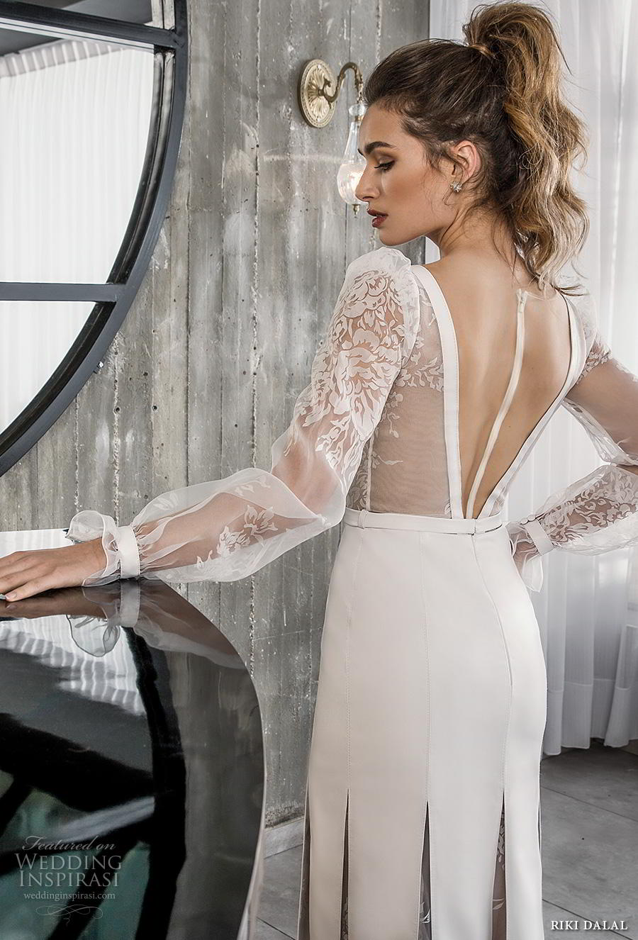 riki dalal 2018 glamour bridal long poet sleeves deep v neck heavily embellished bodice slit skirt elegant sexy modified a line wedding dress sheer back sweep train (1) zbv