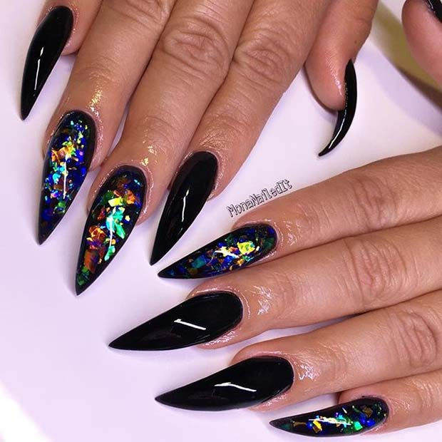 Bold, Black Pointy Nails