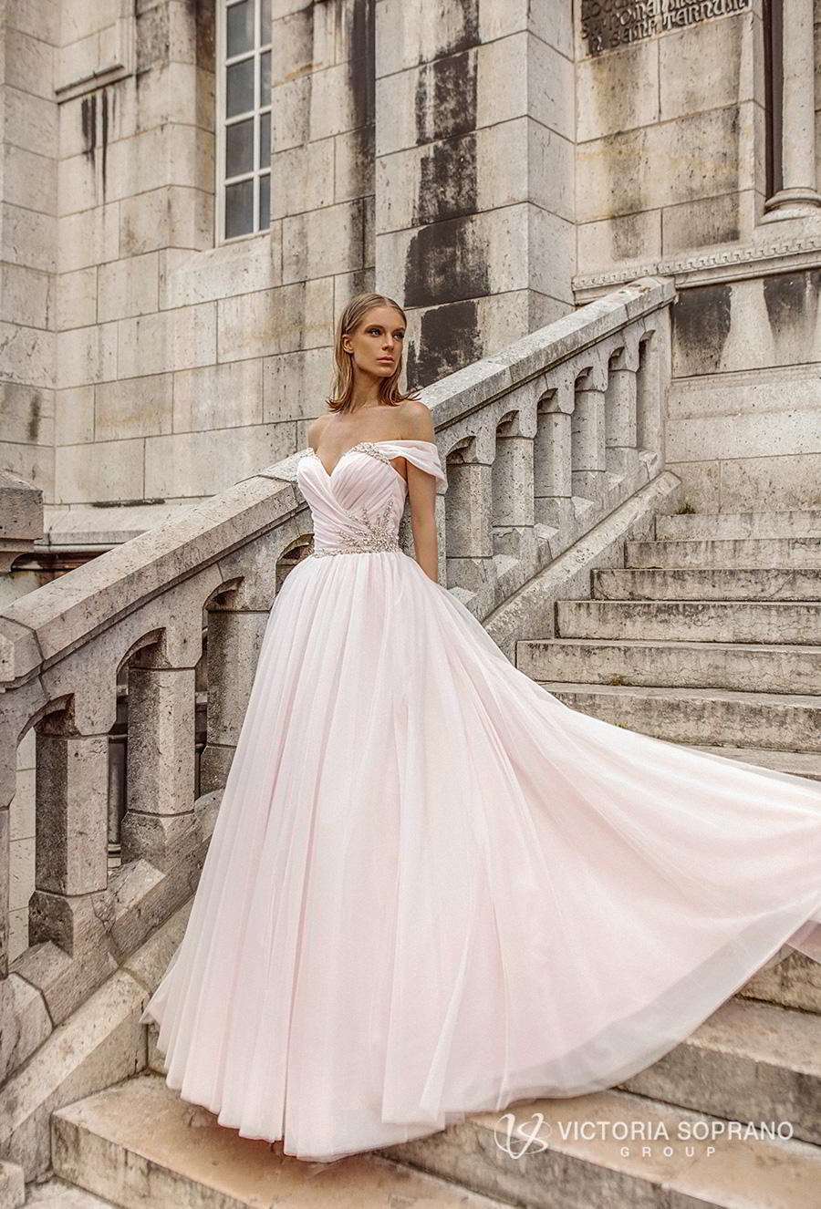 victoria soprano 2019 bridal off the shoulder sweetheart neckline ruched wrap over bodice romantic blush ball gown wedding dress chapel train (estel) mv