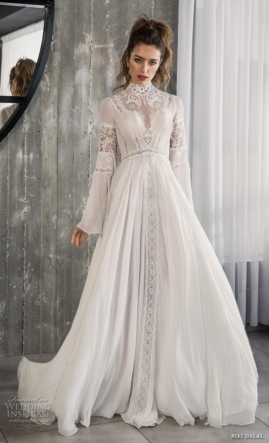 riki dalal 2018 glamour bridal long bell sleeves high neck heavily embellished bodice romantic bohemian a line wedding dress cross strap back sweep train (4) mv