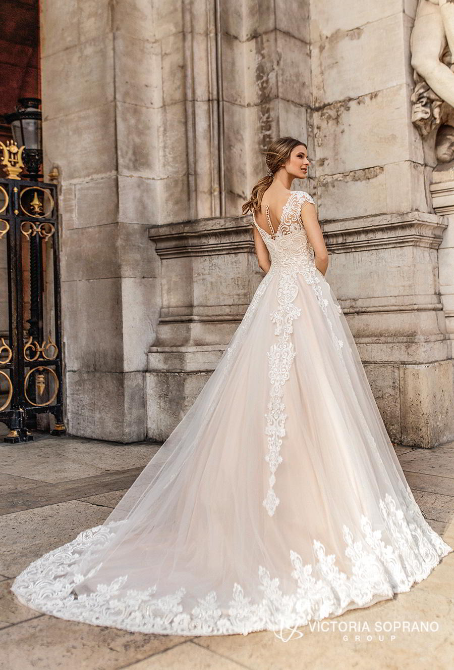 victoria soprano 2019 bridal cap sleeves v neck heavily embellished bodice romantic princess a line wedding dress sheer button back chapel train (ivonna) bv