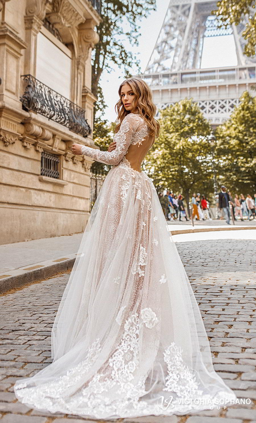 victoria soprano 2019 bridal long sleeves high neck heavily embellished bodice elegant princess a line wedding dress open low back chapel train (dior) bv