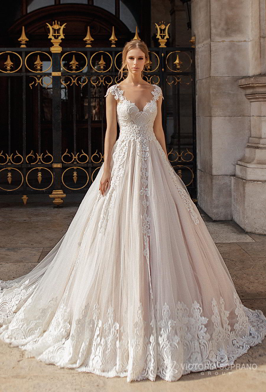 victoria soprano 2019 bridal cap sleeves v neck heavily embellished bodice romantic princess a line wedding dress sheer button back chapel train (ivonna) mv