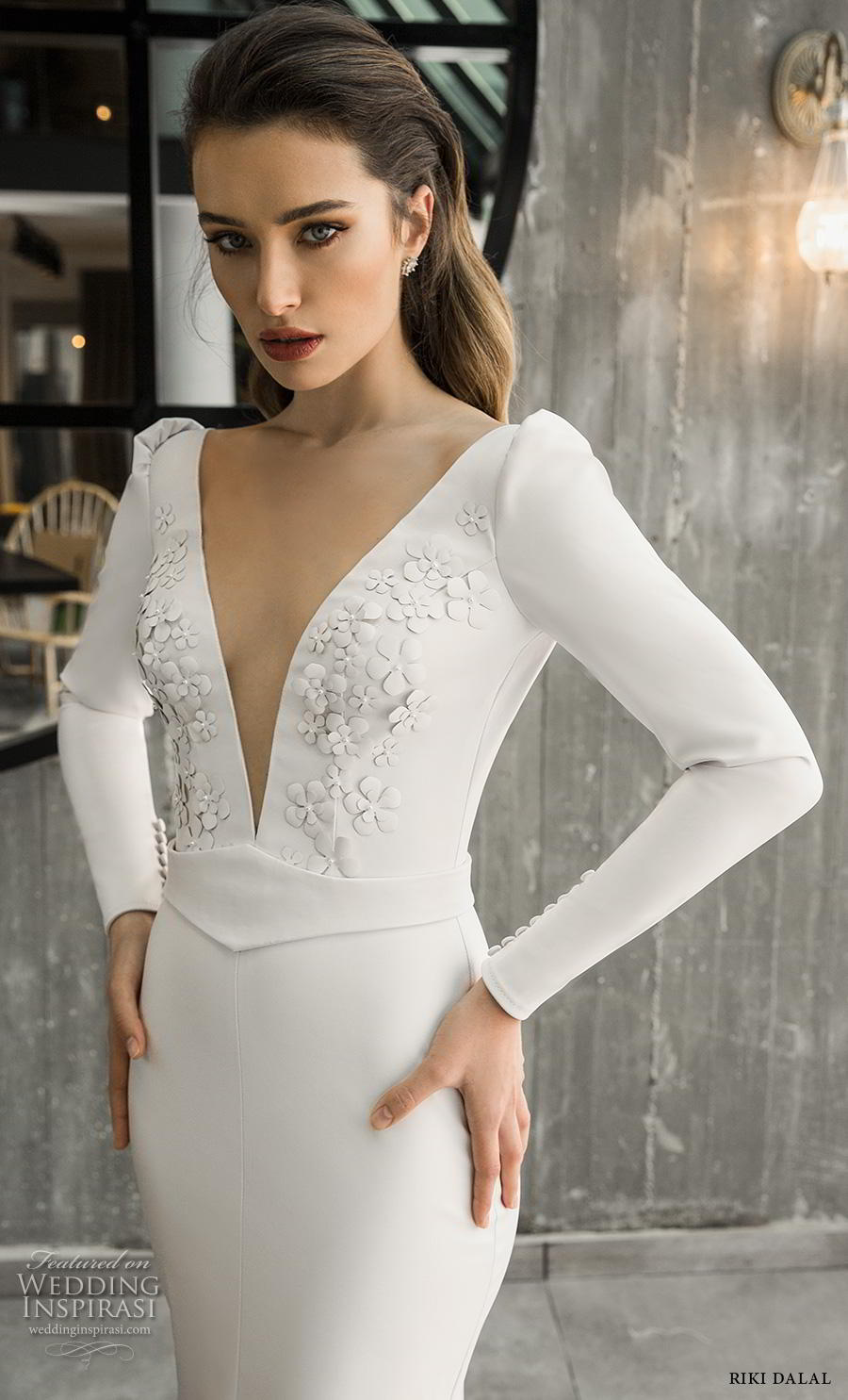 riki dalal 2018 glamour bridal long sleeves deep v neck heavily embellished bodice slit skirt simple sheath wedding dress backless v back chapel train (13) zv