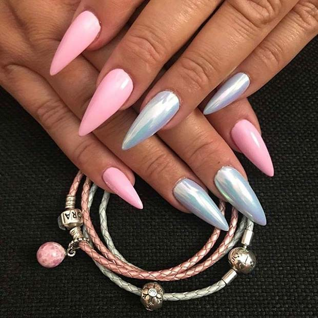 Girly, Pink and Silver Pointy Nails
