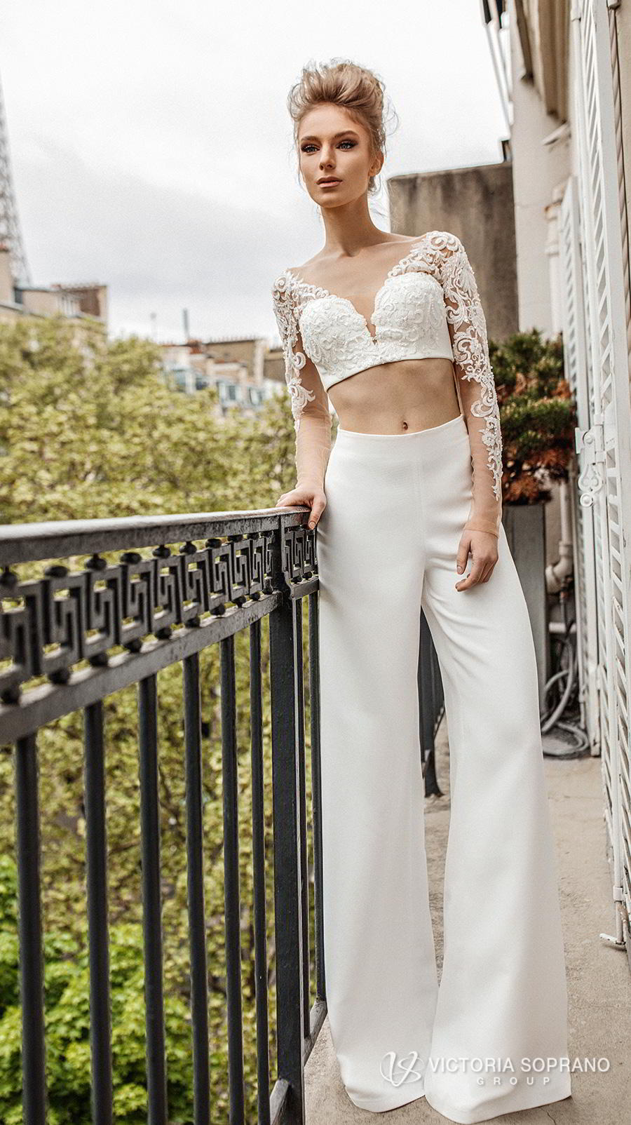 victoria soprano 2019 bridal long sleeves v neck heavily embellised bodice crop top 2 piece pants wedding dress backless (monro) mv